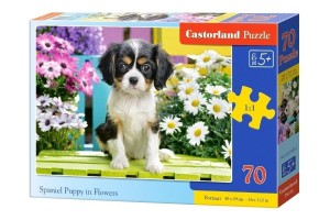 Puzzle 70 Spaniel in flowers CASTOR