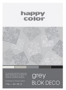 Blok A4/20K Deco Grey 170g HAPPY COLOR
